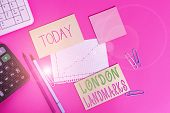 Word Writing Text London Landmarks. Business Concept For Most Iconic Landmarks And Mustsee London At poster