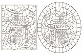 Set Contour Illustrations Of The Stained Glass Windows With The Village Houses In The Background Of  poster