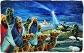 Religious Illustration Three Kings - And Holy Family - Traditional Scene - Illustration For Children poster