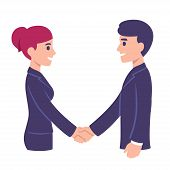 Business Man And Woman Shaking Hands. People In Office Meeting, Workplace Communication. Modern Cart poster