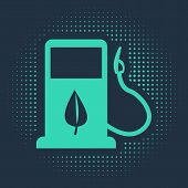 Green Bio Fuel Concept With Fueling Nozzle And Leaf Icon Isolated On Blue Background. Gas Station Wi poster