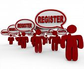 Many people saying the word Register in speech bubbles to tell you to complete registration to join