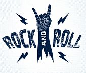 Rock Hand Sign With Lightning Bolts, Hot Music Rock And Roll Gesture, Hard Rock Festival Concert Or poster