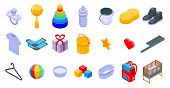Baby Items Icons Set. Isometric Set Of Baby Items Vector Icons For Web Design Isolated On White Back poster