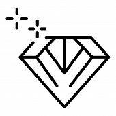 Shine Diamond Icon. Outline Shine Diamond Vector Icon For Web Design Isolated On White Background poster