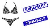 Mosaic Bikini Pictogram And Rectangle Swimsuit Seal Stamps. Flat Vector Bikini Mosaic Pictogram Of R poster