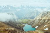 Atmospheric Alpine Landscape To Beautiful Glacial Lake In Highland Valley. Big Snowy Mountains With  poster