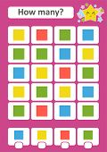 Counting Game For Preschool Children. The Study Of Mathematics. How Many Objects In The Picture. Col poster