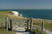 View Over The Cliffs And Rock Formations Of Old Harry Rocks On Dorset Coast poster