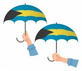 Bahamas Flag Umbrella. Social Security Concept. National Flag Of Bahamas Vector Illustration poster