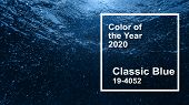 Classic Blue Main Color Trend Of The Year 2020. Air Bubbles In Blue Clean Water Sea Surface Under Wa poster