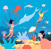 Divers. Underwater Swimmers, Scuba Leisure Snorkel. Diving In Blue Sea With Fishes, Corals. Man Woma poster