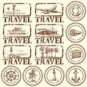 stock photo of brig  - travel stamp - JPG