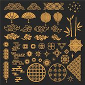 Chinese New Year Elements. Golden Asian Traditional Pattern, Cloud And Decorative Flower. Oriental L poster