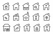 Home Icons. Thin Line Modern Houses, Homes With Roof, Windows Doors. Flat Hotel Cottage Residence Sy poster
