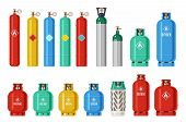 Gas Cylinders. Lpg Propane Container, Oxygen Gas Cylinder And Canister. Fuel Storage Liquefied Compr poster