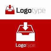 Red Download Inbox Icon Isolated On White Background. Add To Archive. Logo Design Template Element.  poster