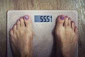 Close Up Of Digital Bathroom Scale With Female Bare Feet On It Showing 55, 5 Kilogram On Display. Wo poster