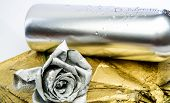 Winery Concept. Floral Wine. Metal Flower In Steel Silver Bottle. Forging And Sculpture. Silver Meta poster