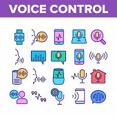 Voice Control Command Collection Icons Set Vector Thin Line. Laptop And Smartphone, Smart Home And A poster