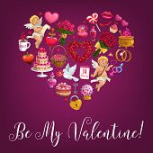 Valentine Day Hearts And Cupids, Wedding Rings And Lip Kisses. Vector Be My Valentine Calligraphy Qu poster