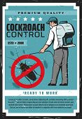 Cockroach Control, Man In Protective Mask Exterminating Termites. Vector Retro Exterminator Worker W poster