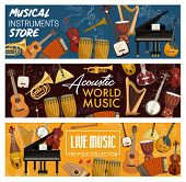 Musical Instruments, Folk And Acoustic, Music Store. Vector Orchestra Violin And Piano, Contrabass A poster