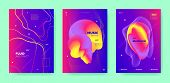 Blue Dj Flyer. Electronic Music. Colorful Futuristic Brochure. Pink 3d Flow Design. Purple Dj Poster poster