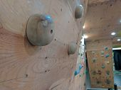 Climbing Wall For Simulation Of Climbing In A Gym For Getting Fit And Workout As Preparation For Ext poster