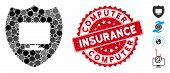 Collage Computer Insurance Icon And Grunge Stamp Seal With Computer Insurance Caption. Mosaic Vector poster