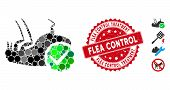 Collage Flea Control Icon And Grunge Stamp Watermark With Flea Control Treatment Caption. Mosaic Vec poster