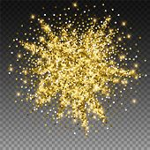 Sparkling Gold Luxury Sparkling Confetti. Scattered Small Gold Particles On Trasparent Background. A poster