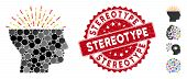 Mosaic Imagination Icon And Rubber Stamp Seal With Stereotype Text. Mosaic Vector Is Composed From I poster