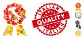 Mosaic Italian Quality Icon And Corroded Stamp Seal With Italian Quality Caption. Mosaic Vector Is C poster