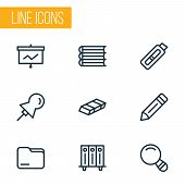 Instrument Icons Line Style Set With Magnifier, Folder, Folders On Shelf And Other Cutter Elements.  poster