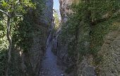Crimea. View Of A Narrow Gorge. It Is Believed That The Stairs In This Gorge Is Made By The Ancient  poster