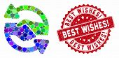 Mosaic Handshake Exchange Arrows And Rubber Stamp Seal With Best Wishes Exclamation Text. Mosaic Vec poster