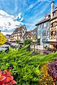 Old Town Of Colmar, Alsace, France. View With Colorful Buildings, Streets, Canal And Flowers. Colmar poster
