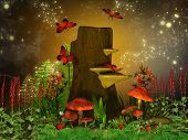 stock photo of midget  - Illustration of a magical enchanted garden in dreamyland - JPG