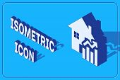 Isometric Rising Cost Of Housing Icon Isolated On Blue Background. Rising Price Of Real Estate. Resi poster