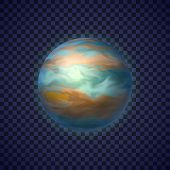 Jupiter Gas Giant Planet On Transparent Background. Colorful Fifth Planet Of Solar System. Galaxy Di poster