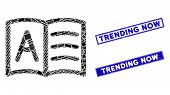 Mosaic Addresses Icon And Rectangular Trending Now Seal Stamps. Flat Vector Addresses Mosaic Icon Of poster