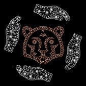 Glossy Mesh Save Tigers With Glitter Effect. Abstract Illuminated Model Of Save Tigers Icon. Shiny W poster