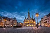 Liberec, Czechia. View Of Main Square With Town Hall Building And Fountain At Dusk (hdr-image) poster
