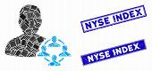 Mosaic Politics Icon And Rectangular Nyse Index Seal Stamps. Flat Vector Politics Mosaic Icon Of Ran poster