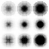 foto of semi-circle  - spotted halftone vector - JPG