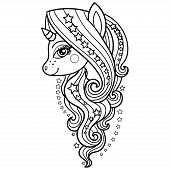 Unicorn With A Long Mane And Stars. Black And White. Vector poster