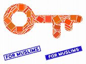 Mosaic Access Key Icon And Rectangle For Muslims Rubber Prints. Flat Vector Access Key Mosaic Icon O poster