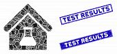 Mosaic Chemical Labs Building Icon And Rectangular Test Results Seal Stamps. Flat Vector Chemical La poster
