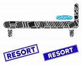 Mosaic Bed Icon And Rectangle Resort Rubber Prints. Flat Vector Bed Mosaic Icon Of Randomized Rotate poster